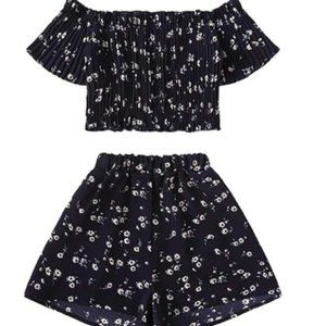 Women's 2Piece Floral Print Smocked Top with Short